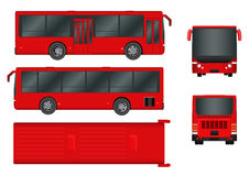 Red City bus template. Passenger transport all sides view from top, side, back and front. Vector illustration eps 10. Stock Image