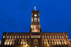 Red City Hall (Rotes Rathaus) in Berlin. Night view of Red City Hall (Rotes Rathaus) in Berlin, Germany Stock Photo