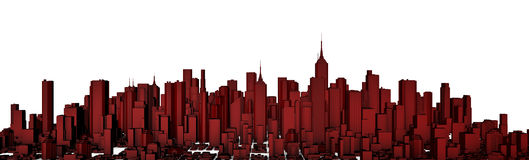 Red city panorama. 3D render of modern city panorama in red, easy to colorize Royalty Free Stock Photos