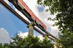Red city railway train in sky Stock Photography