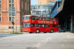 Red city sightseeing bus. Hamburg Royalty Free Stock Images