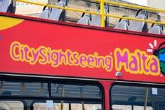 Red City Sightseeing Malta bus. Red Maltese sightseeing bus, Marsaxlokk, Malta, Europe Royalty Free Stock Images