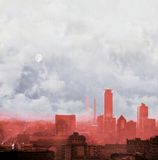 Red city skyline with cloudy sky and full moon. Concept of global warming. Royalty Free Stock Photos
