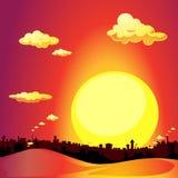 Red city sunset - sundown vector illustration Stock Images