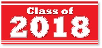 Red Class of 2018 Banner. Red Graduating Class of 2018 Banner for Graduation Stock Photo