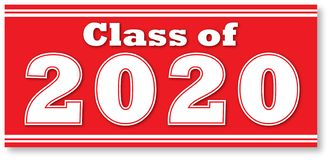 Free Red Class Of 2020 Boxed Banner Stock Image - 149492761