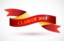 Red class of 2014 ribbon banner illustration. Design over a white background Stock Photography