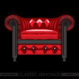Red classic armchair over black background Stock Images