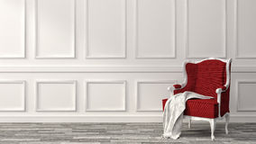 Red classic armchair with white wall and floor. 3d illustration Royalty Free Stock Photography