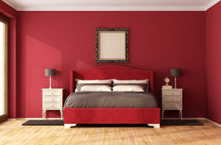 Red Classic Bedroom Stock Photography