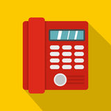 Red classic business office phone icon, flat style vector illustration