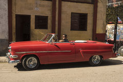 Red classic cabriolet Havana Royalty Free Stock Photography