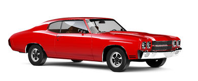 Red classic car. On white background Stock Photo