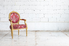 Red classic chair style in vintage room Stock Photos