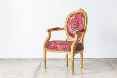 Red classic chair style in vintage room Royalty Free Stock Photo