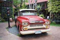 Red classic Chevrolet apache pickup truck for show at Banbangkhe royalty free stock image