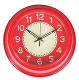 Red classic Clock on a white wall Royalty Free Stock Images