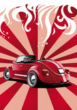 Red classic convertible. Retro styled illustration Stock Photography