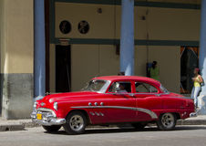 Red Classic Cuban Taxi Car. Old Classic red taxi car in Havana, Cuba Stock Photography