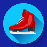 Red classic ice figure skates icon vector. Sport equipment. Side view.  Royalty Free Stock Images