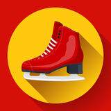 Red classic ice figure skates icon vector. Sport equipment. Side view Stock Images