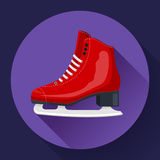 Red classic ice figure skates icon vector. Sport equipment. Side view.  Royalty Free Stock Photos