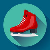 Red classic ice figure skates icon vector. Sport equipment.. Side view Royalty Free Stock Image