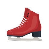 Red classic ice figure skates. Sport equipment. Side view. Vector Illustration isolated. On white background Royalty Free Stock Photo