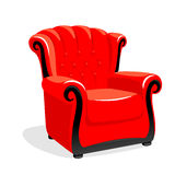 Red classic leather armchair Stock Images