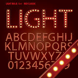 Red Classic Light Bulb Alphabet and Digit Vector royalty free illustration