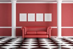 Red classic living room. With sofa and two white column - rendering Stock Photos