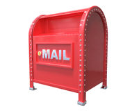 Red classic mailbox 3D render isolated on white background with Royalty Free Stock Photo