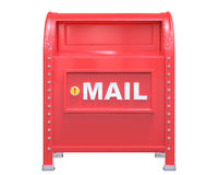 Red classic mailbox 3D render  on white background with Royalty Free Stock Image