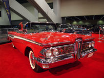 Red Classic Muscle Car on Display stock images