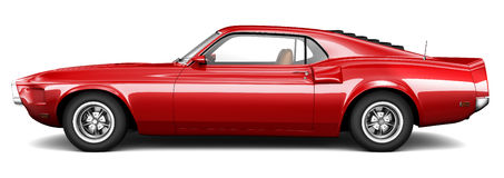 Red Muscle Car On A White Background Stock Illustration Image