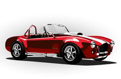 Red classic sport car cobra roadster Stock Images