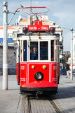 Red classic tram with driver at the Taksim square Stock Photos