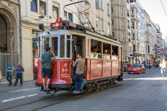 A red classic tram in Istiklal street Royalty Free Stock Photo