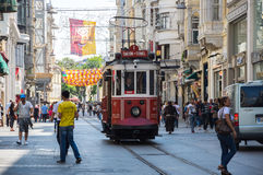 A red classic tram in Istiklal street Royalty Free Stock Photography