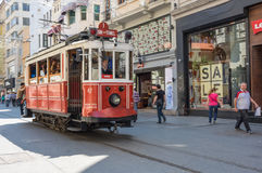 A red classic tram in Istiklal street Royalty Free Stock Image