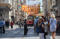 A red classic tram in Istiklal street Stock Photo