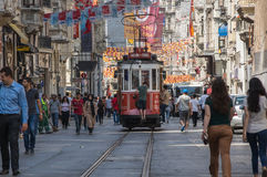 A red classic tram in Istiklal street Royalty Free Stock Photos
