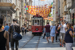 A red classic tram in Istiklal street Stock Photography