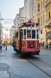 A red classic tram in Istiklal street Stock Images