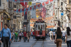 A red classic tram in Istiklal street Royalty Free Stock Images