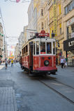 A red classic tram in Istiklal street Stock Image