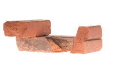 Red clay brick deduct on white background stock image