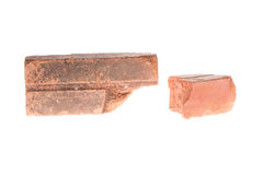 Red clay brick deduct on white background royalty free stock images