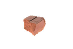 Red clay brick deduct on white background stock photos