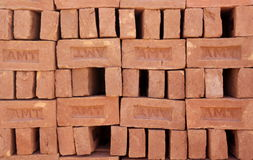 Red clay brick. Material for construction. Photo taken on: December 20th, 2013 Stock Image